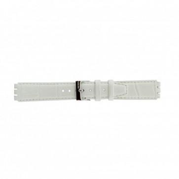 Correa para relojes Swatch de cuero genuino color blanco 17mm 21414