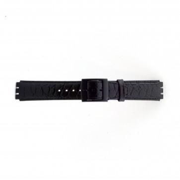 Correa para relojes Swatch croco negro 17mm PVK-SC10.01