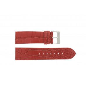 Davis correa de reloj 1423 Cuero Rojo 24mm + costura amarilla