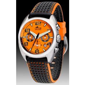 Lotus correa de reloj 15323-D Caucho Multicolor + costura naranja