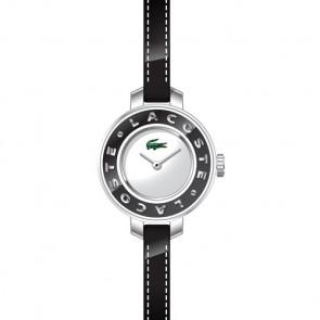 Lacoste correa de reloj LC-15-3-14-0084 / 2000391 Cuero Negro 6mm + costura negro