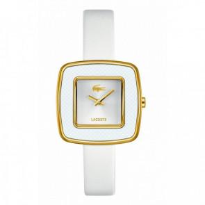 Lacoste correa de reloj 2000749 / LC-65-3-29-2392 Cuero Blanco 12mm