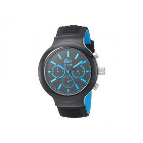 Lacoste correa de reloj 2010812 / LC-61-1-29-2600 Caucho Negro 16mm