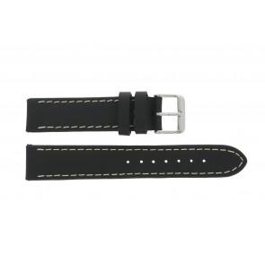 Correa de reloj 61330.10.22XL Cuero Negro 22mm + costura marrón