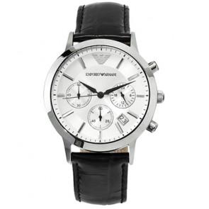 Armani correa de reloj AR2436 Cuero Negro 20mm + costura negro