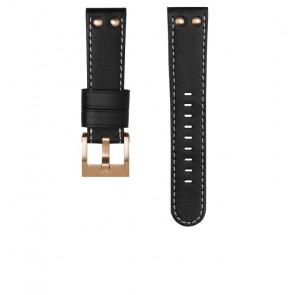 TW Steel correa de reloj CEB105 / CE105 Cuero Negro 22mm + costura blanca