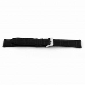 Correa de reloj EX-D015 Cuero Negro 14mm + costura negro
