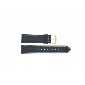 Timex correa de reloj PW2P72700 Cuero Azul  22mm + costura blanca