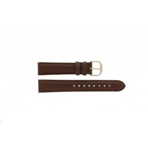 Q&Q correa de reloj QQ18LDBG-GD Cuero Marrón 18mm + costura marrón