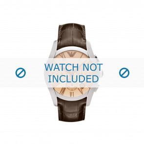 Armani correa de reloj AR1634 Cuero Marrón + costura marrón