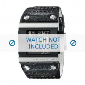 Armani correa de reloj  AX1066 Cuero Negro + costura negro