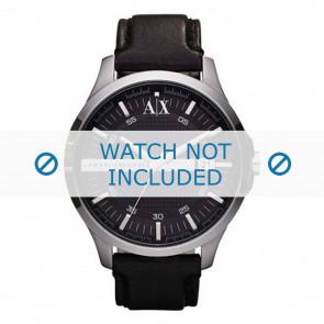Armani correa de reloj AX2101 Cuero Negro + costura negro