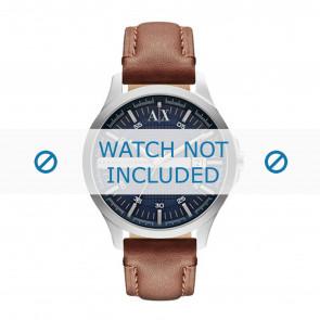 Armani correa de reloj AX2133 Cuero Marrón + costura marrón