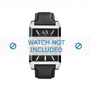 Armani correa de reloj AX-2113 Piel Negro 24mm + costura negro