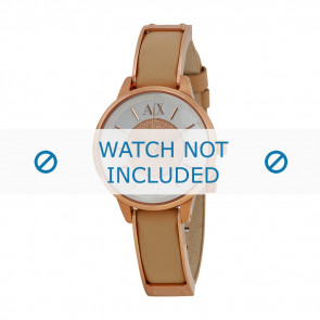 Armani correa de reloj AX-5353 Piel Blanco crema 12mm