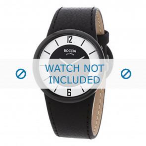 Boccia correa de reloj 3161-01-BO3161-01-40 Cuero Negro 25mm + costura negro