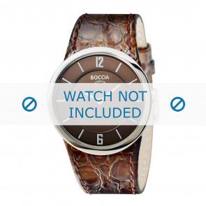 Boccia correa de reloj 3161-05-BO3161-05-40 Piel de cocodrilo Marrón 26mm + costura marrón