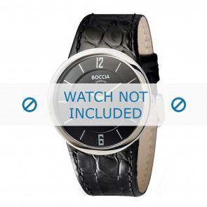 Boccia correa de reloj 3161-07-BO3161-07-40 Piel de cocodrilo Negro 26mm + costura negro