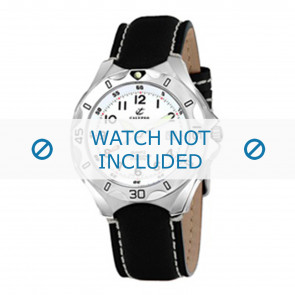 Calypso correa de reloj K5154-1 Cuero Negro 21mm + costura blanca