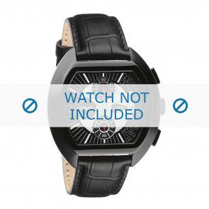 Dolce & Gabbana correa de reloj DW0214 Piel de cocodrilo Negro + costura negro