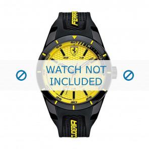 Ferrari correa de reloj SF0830246-689300183 Caucho / plástico Negro + costura amarilla