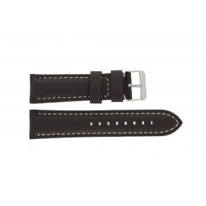 Correa de reloj H038 XL Cuero Marrón oscuro 22mm + costura blanca