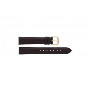 Q&Q correa de reloj QQ18LDBGD Piel de cocodrilo Marrón 18mm + costura marrón