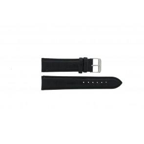 Q&Q correa de reloj QQ18LDGS Piel de cocodrilo Negro 18mm + costura negro