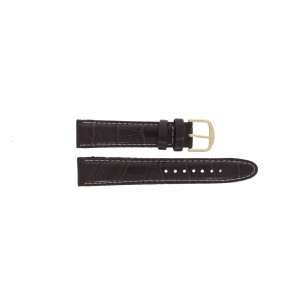 Q&Q correa de reloj QQ18LDB-WS-GD Piel de cocodrilo Marrón 18mm + costura blanca