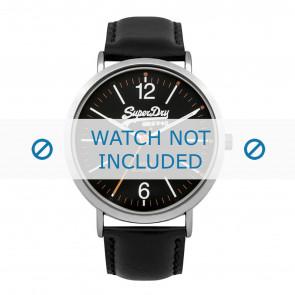Superdry correa de reloj SYG194B Cuero Negro + costura negro
