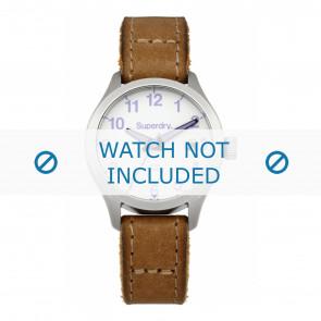 Superdry correa de reloj SYL114TV Cuero Marrón + costura marrón