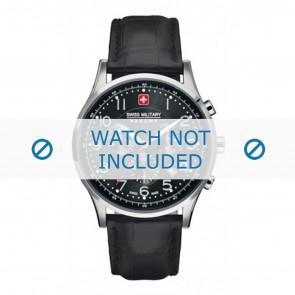 Swiss Military Hanowa correa de reloj 06-4187.04.007 Cuero Negro 22mm + costura negro