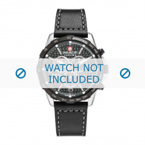 Swiss Military Hanowa correa de reloj 06-4251.33.001 Cuero Negro 24mm + costura gris