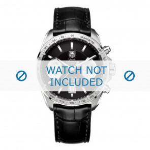 Tag Heuer correa de reloj FC6225 Cuero Negro + costura gris