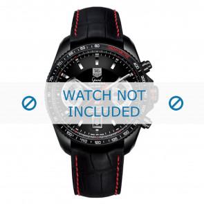 Tag Heuer correa de reloj FC6237 Cuero Negro + costura roja