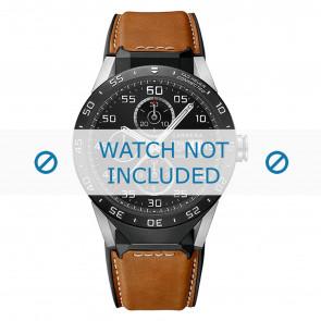 Tag Heuer correa de reloj FT6070 Cuero Cognac + costura blanca