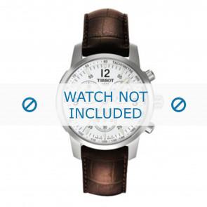 Tissot correa de reloj T361.461 PRC-200 - T600013367 Piel de cocodrilo Marrón 19mm + costura marrón