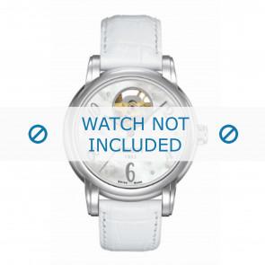 Tissot correa de reloj T050.207.A Lady Heart Dressport - T610029084 / T050.217.A / T906.217.A Piel de cocodrilo Blanco 16mm + costura blanca