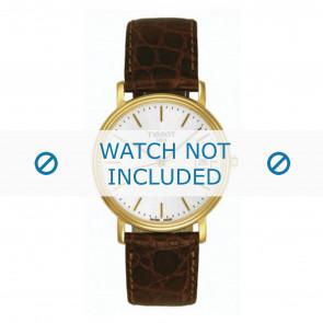 Tissot correa de reloj T870.970.122 - T600013056 Piel de cocodrilo Marrón oscuro 18mm + costura amarilla