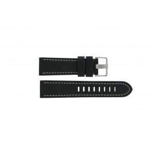 Prisma correa de reloj ZWST23 Cuero Negro 23mm + costura blanca