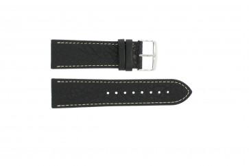 Correa de reloj 307.01 Cuero Negro 24mm + costura blanca