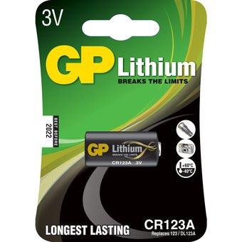 Pila alcalina marca GP 123A 3V