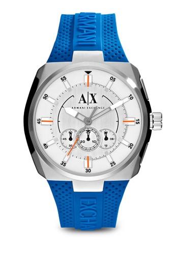 f131db088642 Correa de reloj Armani Exchange AX1802 Silicona Azul 12mm
