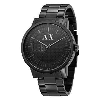 a823fe600368 Correa de reloj Armani Exchange AX2060 Acero inoxidable Negro 22mm