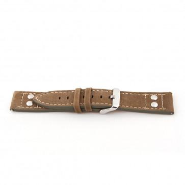Cuero genuino marrón / verde 24mm 'estructura gruesa' EX-K469
