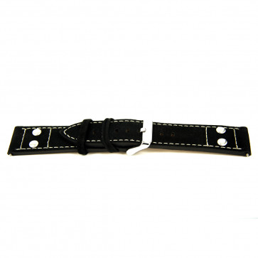 Cuero genuino negro 24mm 'estructura gruesa' EX-K469