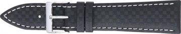 Correa de reloj 321.01 Carbono Negro 20mm + costura blanca