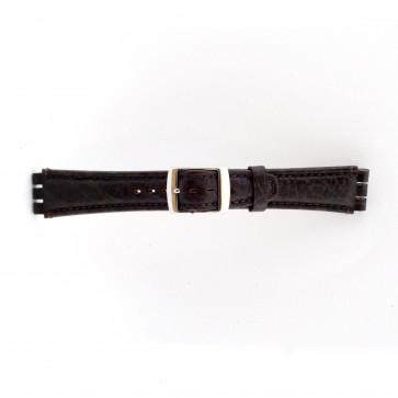 Correa para relojes Swatch de cuero genuino color marrón oscuro 19mm 21412