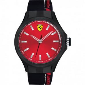 Correa de reloj Ferrari 0830219 / SF689300165 / SF-01-1-47-0124 Caucho Negro 22mm