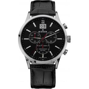 Correa de reloj Edox 10010-473282-222194 Cuero Negro 21mm